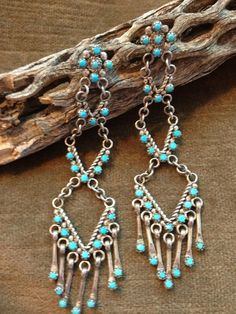 Zuni silver and turquoise needlepoint chandelier native american gypsy boho hippie vintage earrings