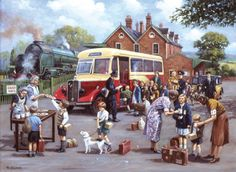The EvacueesThe Evacuees - The EvacueesThe Evacuees - The Evacuees by Kevin Walsh Norman Rockwell, Railway Posters, Travel Posters, Bus Art, Nostalgic Art, Puzzle Art, Cartoon Art Styles, Children's Book Illustration, The Good Old Days