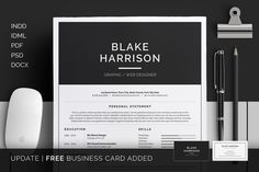 Resume/CV - Blake by bilmaw creative on @creativemarket