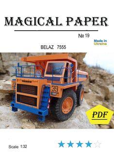 Paper model kit, Truck BELAZ 7555 ,Papercraft 3D paper craft model, printable, car, diy how to make, origami, pepakura kit