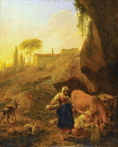 Dutch painter Nicolas Berchem. Southern rocky landscape