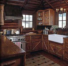 Small but cute log house kitchen. Miller Architects, Bozeman, Montana