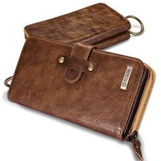 Icarercase Genuine Leather Men's Wallets, Large Capacity Purse Zippered Long Billfold Leather Wallet with Inner Multiple Card Holders, Mobile Phone and Checkbook Pockets Burse for Business (Coffee) - http://leather-handbags-shop.com/icarercase-genuine-leather-mens-wallets-large-capacity-purse-zippered-long-billfold-leather-wallet-with-inner-multiple-card-holders-mobile-phone-and-checkbook-pockets-burse-for-business-coffee/