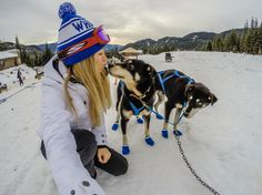 Kiersten Rich couldn't resist taking a quick selfie with these adorable pups. Looks at those puppy mittens! #GoProGirl