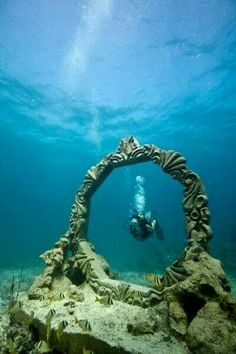 """Cancun Underwater Museum, National Marine Park, Yucatan Peninsula, Mexico """"The facts of the history lies deep in the sea waters"""" Underwater Ruins, Underwater Sculpture, Underwater Photos, Underwater Photography, Under The Water, Under The Sea, Atlantis, Places To Travel, Places To Visit"""