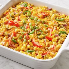 Learn how to prepare this easy Cheesy and Spicy Corn Dish recipe like a pro. With a total time of only 45 minutes, you'll have a delicious dish ready before you know it. Corn Dishes, Vegetable Side Dishes, Tasty Dishes, Vegetable Recipes, Spicy Dishes, Spicy Recipes, Mexican Food Recipes, Crockpot Recipes, Cooking Recipes
