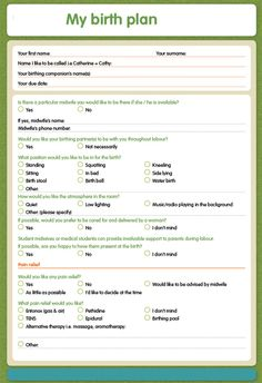 FREE Birth Plan Template | Download and print your own birth plan ...