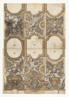 Drawing, Design for Sculptured Decorations of Ceiling, 1650–75
