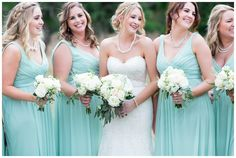 bride and her bridesmaids having a good time together!