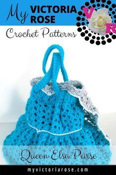 My Victoria Rose | Crochet Patterns | Queen Elsa Crochet Purse. Easy to make Elsa crochet pattern for any level. Red Heart Yarn preferred. #crochet #crochetpattern #crochetaddict #disney #Elsa #QueenElsa #DisneyFrozen #girlspurse #myvictoriarose