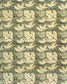 Textile design by C F A Voysey, produced by Newman, Smith & Newman in 1897