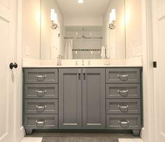 Bathroom, small bathroom, Jack and Jill bathroom, Walker Woodworking custom cabinets, sconce, kids bathroom, House ideas, Bathroom idea, Home Reno, decor