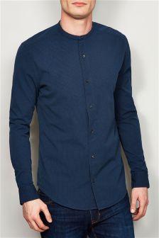 Navy Seersucker Collarless Long Sleeve Shirt