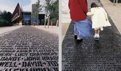 Why not associates - collaboration with artist gordon young. a one-hundred-metre pathway of names laser cut in chequer plate steel for the yorkshire sculpture park. a fund-raising venture where over 5,000 visitors payed to have their name inscribed on the path.