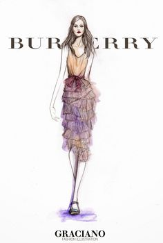 #BURBERRY SPRING 2015 #LFW by #GRACIANO #fashionillustration