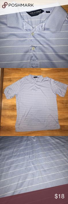 Polo golf Ralph Lauren blue white stripe shirt Authentic Polo Golf polo shirt by Ralph Lauren Lightly worn Size XL Light blue with white stripes Has two very minor spots in the middle of the shirt, not noticeable but I am being honest about them being there Lmk if you have any questions USE THE OFFER BUTTON 👌🏽✔️ Bundle and save ! 💰 Polo by Ralph Lauren Shirts Polos