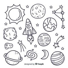 Pack of hand drawn planet in doodle styl. Space Drawings, Doodle Drawings, Easy Drawings, Art Drawings Sketches Simple, Simple Doodles, Cute Doodles, Bullet Journal Art, Bullet Journal Inspiration, Planet Drawing