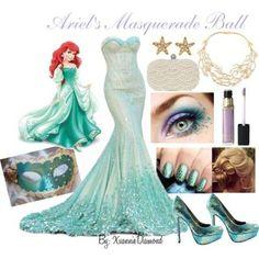 Disney masquerade costume for Ariel Disney Inspired Outfits, Themed Outfits, Disney Outfits, Disney Style, Disney Princess Outfits, Masquerade Ball Gowns, Masquerade Party, Masquerade Outfit, Masquerade Masks