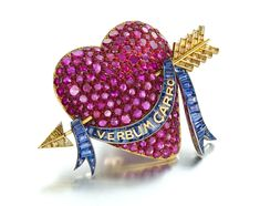 Siegelson ruby, sapphire, yellow diamond and enamel heart brooch by Paul Flato, New York, circa 1938.