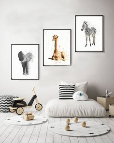 My latest Nursery Animal Print Set - 3 animal prints watercolor 11x14 elephant giraffe zebra safari animal prints nursery 16x20 safari baby shower http://etsy.me/2FeECEC #art #nursery #wall decor #painting #gray #babyshower #beige