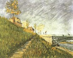 Banks of the Seine near Pont de Clichy Vincent van Gogh Fecha: Paris, France Estilo: Posimpresionismo Género: paisaje Media: óleo, canvas Vincent Van Gogh, Dutch Artists, Great Artists, Charles Angrand, Van Gogh Arte, Georges Seurat, Van Gogh Paintings, Art Van, Impressionist Artists