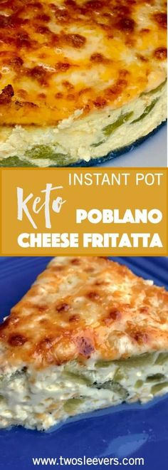 Pressure cooker Keto Low Carb Poblano Frittata is as good for breakfast as it is for dinner. A very popular way to make an easy keto frittata in your Instant Pot or Pressure cooker! via @twosleevers