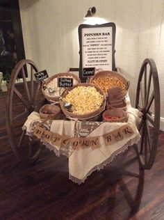 Popcorn bar at the Romantic Country Club wedding reception. Book this venue toda. Wedding Snack Bar, Wedding Popcorn Bar, Wedding Reception Food, Wedding Dessert Bars, Wedding Venues, Wedding Decorations Pictures, Wedding Themes, Wedding Tips, Fall Wedding