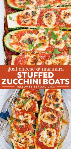 Fresh zucchini stuffed with goat cheese, Parmesan and marinara, then baked to perfection. These Goat Cheese and Marinara Stuffed Zucchini Boats are a tender and delicious, low-carb and gluten-free option for dinner or served as a side dish. Vegetarian Zucchini Boats, Vegetarian Cheese, Stuffed Zucchini Boats, Vegetarian Appetizers, Stuffed Zucchini Recipes, Stuffed Zuchini, Baked Zucchini Boats, Zuchinni Recipes, Healthy Zucchini