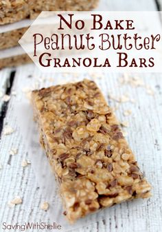 No Bake Peanut Butter Granola Bars . these easy no-bake Peanut Butter Granola Bars would make a yummy after-school treat or breakfast on-the-go. You could also add chocolate chips . Yummy Snacks, Yummy Treats, Delicious Desserts, Snack Recipes, Dessert Recipes, Yummy Food, Diy Snacks, Beach Snacks, Protein Bar Recipes