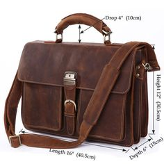 100% Presentable Genuine Crazy Horse Leather Briefcase Laptop Bag Attache Bag16""
