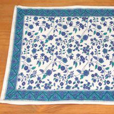 Handmade 100% Cotton Fleur De Lis Placemat Table Linen Rectangular Blue