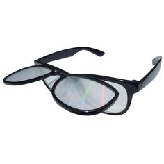 Equipped with a Folding Down Light Diffracting Gradient Lenses((a.k.a.Prism, Firework, 3D, or Rainbow))- True Flex PVC Frame- Virtually indestructible!- Stainless steel hinges- Hard Plastic