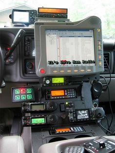 This is a picture I came across on Pinterest. It is of a beastly tech-ed out setup. There is a Motorola Mobile Computer framed with a GPS, scanner, vehicle lighting control, radio transce...