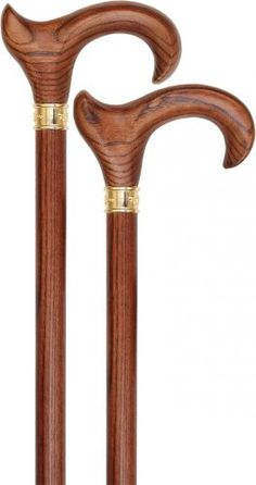 Lowest Price on Espresso Ergonomic Handle Walking Cane With Ash Wood Shaft and Embossed Brass Collar.