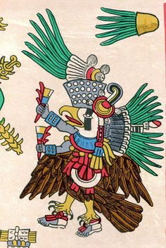 Tezcatlipoca as an eagle or royal vulture. Mexican People, Ancient Aztecs, Aztec Art, Native Art, Bird Art, Deities, Mythology, Maya, Rooster