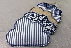 Cloud Mobile Blue & White & Linen Fabric