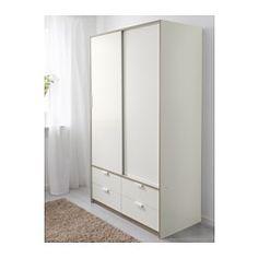 TRYSIL Garderobeskab skydedøre 4 skuf, hvid - 118x61x202 cm - IKEA