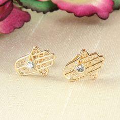 E1 18K Gold Plated Hand of Fatima Hamsa Crystal Stud Earrings - Giftboxed