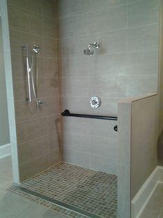 Handicap Accessible shower w/ custom grab bars