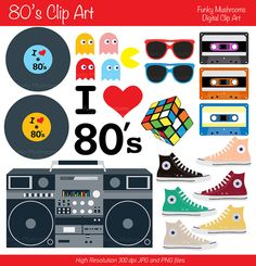 Digital Clipart - Clip Art for Scrapbooking, Invitations, Paper . 80s Birthday Parties, 80s Party, Birthday Favors, 80th Birthday, Party Time, Casino Party, Party Fiesta, 80s Theme, Thank You Tags