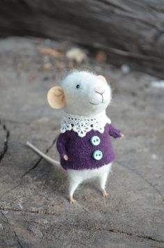 Little Coquet Mouse with Lace Collar in Purple - Felting Dreams - READY TO SHIP. $68.00/£43.98 felting dreams @ etsy   ~ these mice are so cute! See more on the Facebook fan page https://www.facebook.com/FeltingDreamsByJohanaMolina