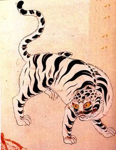 Japanese Embroidery Tiger The White Tiger in Korea is one of the main guardian animals. Tiger Illustration, Japanese Illustration, Korean Painting, Japanese Painting, Asian Tigers, Tiger Art, Tiger Cubs, Tiger Tiger, Bear Cubs