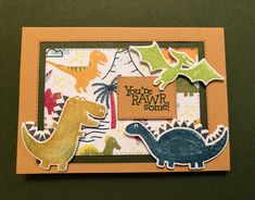 Dino Days Boy Cards, Kids Cards, Dinosaur Cards, Create A Critter, Kids Birthday Cards, Stamping Up Cards, Dinosaur Birthday, Folded Cards, Creative Cards
