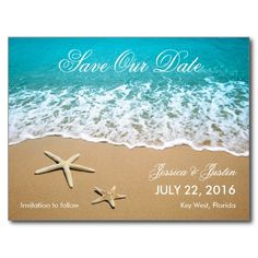 Beach With Starfish Save the Date Postcard. Click image to change names, date etc to suit your requirements