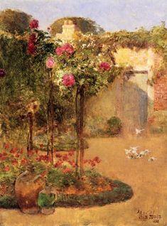 The Rose Garden   Frederick Childe Hassam   oil painting
