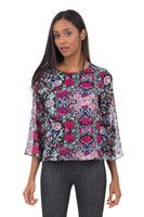 New Listing Started Black Blouse With Flower Design £9.99