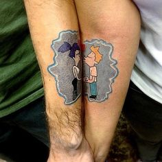 Pin for Later: Matching Tattoos For Couples Who Are in It to Win It Favorite Fandom Tattoos Futurama Tattoo, Married Couple Tattoos, Cute Couple Tattoos, Cute Small Tattoos, Cool Tattoos, Married Couples, Matching Best Friend Tattoos, Matching Tattoos, Tatoo