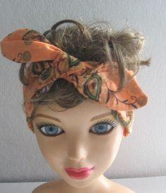 Rockabilly 50s Bandana, Knotted Bandana, Boho Hairband, Women and Teens, Girls Boho, Hippie, Chic Bohemian Bandana RockaBilly HairBand by CrochetnMoreByAlida on Etsy