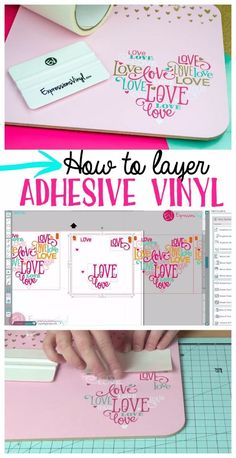 Layering Adhesive Vinyl how to layer adhesive expressions vinyl. I have a Cricut so the program may be a little different but the actual layering process would be the same. Inkscape Tutorials, Cricut Tutorials, Upcycled Crafts, Vinyle Cricut, Shilouette Cameo, Cricut Help, Cricut Air 2, Silhouette Cameo Tutorials, Silhouette Cameo Vinyl