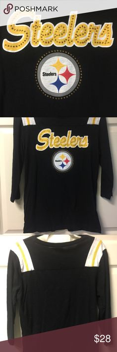 🏈STEELERS NFL🏈 STEELERS NFL team apparel Women's, 3/4 length shirt, white tag, not the NFL tag has a tear but is intact, see pictures. The shirt is made complete with its classic Steeler color yellow for the bling on the shirt. 🏈🏈🏈Here We Go Steelers Here We Go!!🏈🏈🏈 NFL Other